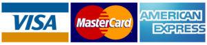 Visa, Mastercard and American Express logos